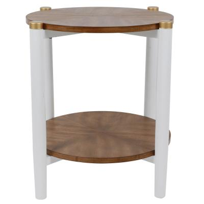 Gabby White and Wood Two-Tone Side Table