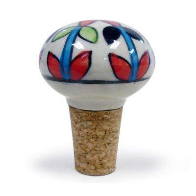 2-Piece Multicolored Floral Ceramic Bottle Stopper Set