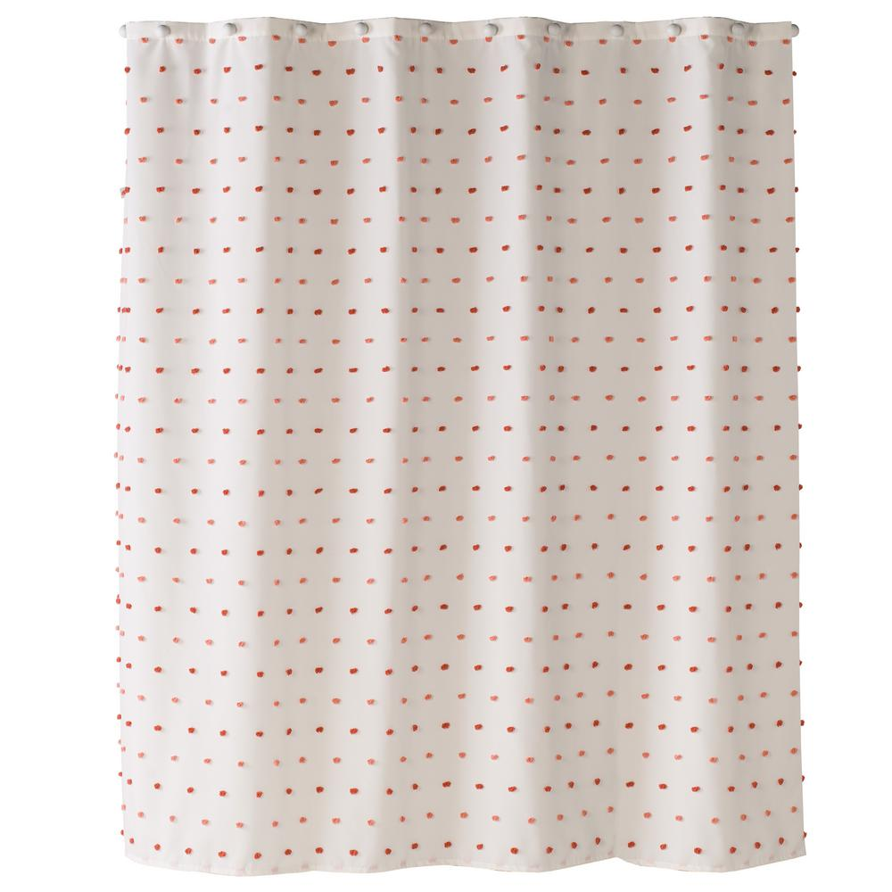 Saturday Knight Colorful Dot 72 In Pink Shower Curtain