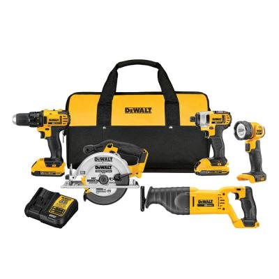 20-Volt MAX Lithium-Ion Cordless Combo Kit 5-Tool with 2-Batteries 2 Ah Charger and Contractor Bag