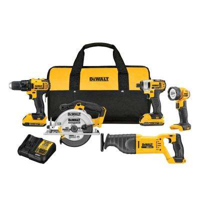 20-Volt MAX Lithium-Ion Cordless Combo Kit (5-Tool) with (2) Batteries 2Ah, Charger and Contractor Bag