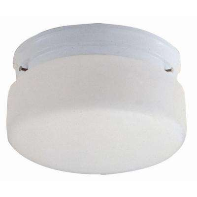 2-Light White Ceiling Flush Mount with Opal Glass