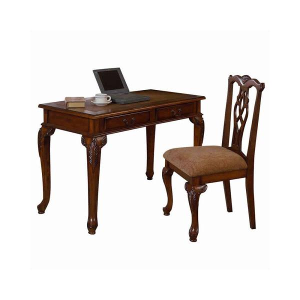 Traditional Style 2-Piece Brown Wooden Desk and Chair Set