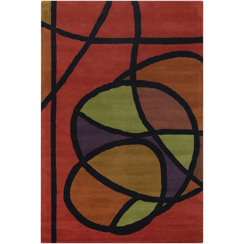 Bense Red/Orange/Green/Purple/Black 7 ft. 9 in. x 10 ft. 6 in.