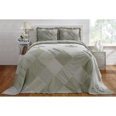 Ruffle Chenille 96 in. x 110 in. Full bed spread sage