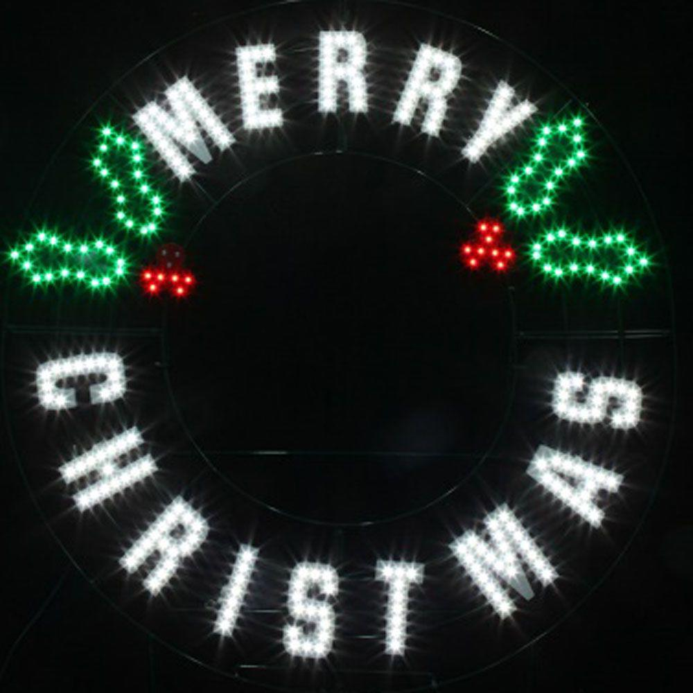 Red green white led message merry christmas wreath for Led outdoor decorations
