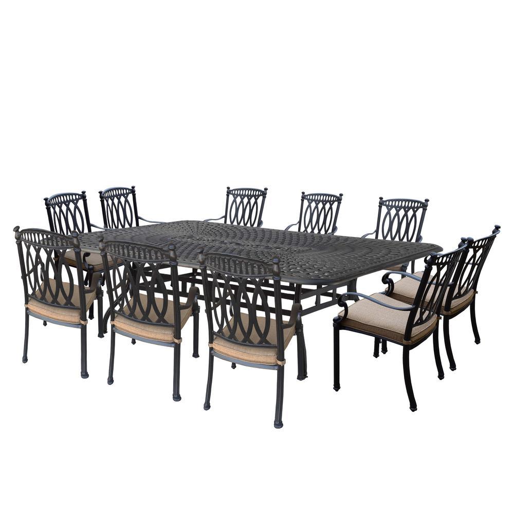 Merveilleux Hampton Aluminum 11 Piece Outdoor Dining Set With Sunbrella Beige Cushions