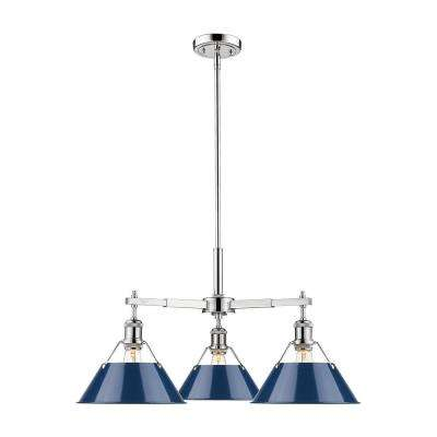 Orwell CH 3 Light Nook Chrome with Navy Blue Shade Chandelier