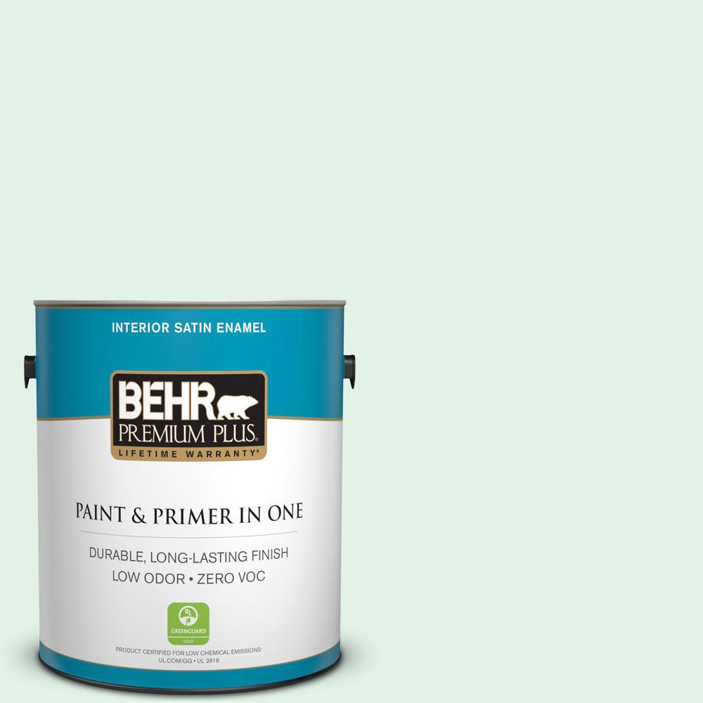 1-gal. #480C-1 Light Mint Zero VOC Satin Enamel Interior Paint