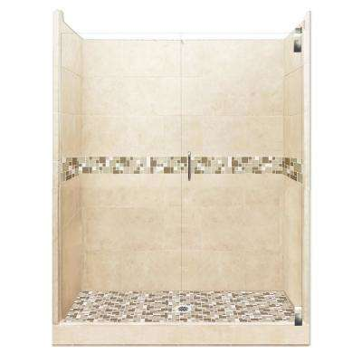 Tuscany Grand Hinged 42 in. x 54 in. x 80 in. Center Drain Alcove Shower Kit in Desert Sand and Satin Nickel Hardware