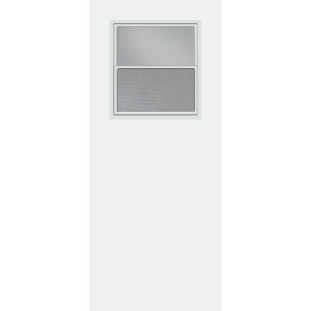 Masonite 30 in. x 80 in. Smooth Flush Hardboard Solid Core Primed Composite Interior Door Slab with Utility Window