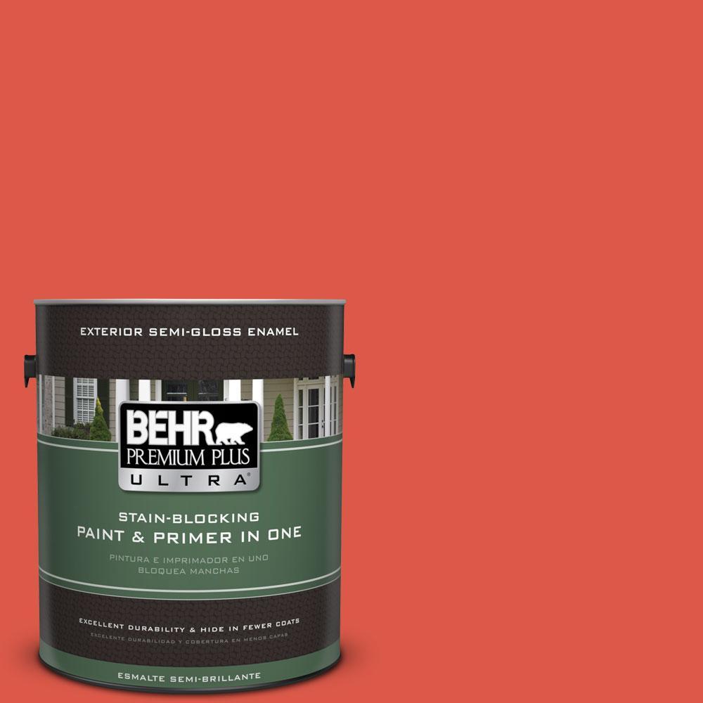 BEHR Premium Plus Ultra 1-gal. #T12-7 Red Wire Semi-Gloss Enamel Exterior Paint