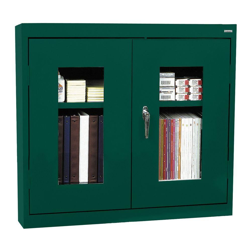 Sandusky 26 in. H x 30 in. W x 12 in. D Clear View Wall Cabinet in Forest Green