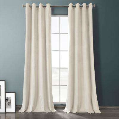 Sandalwood Beige Plush Velvet Hotel Blackout Grommet Curtain - 50 in. W x 108 in. L (1 Panel)