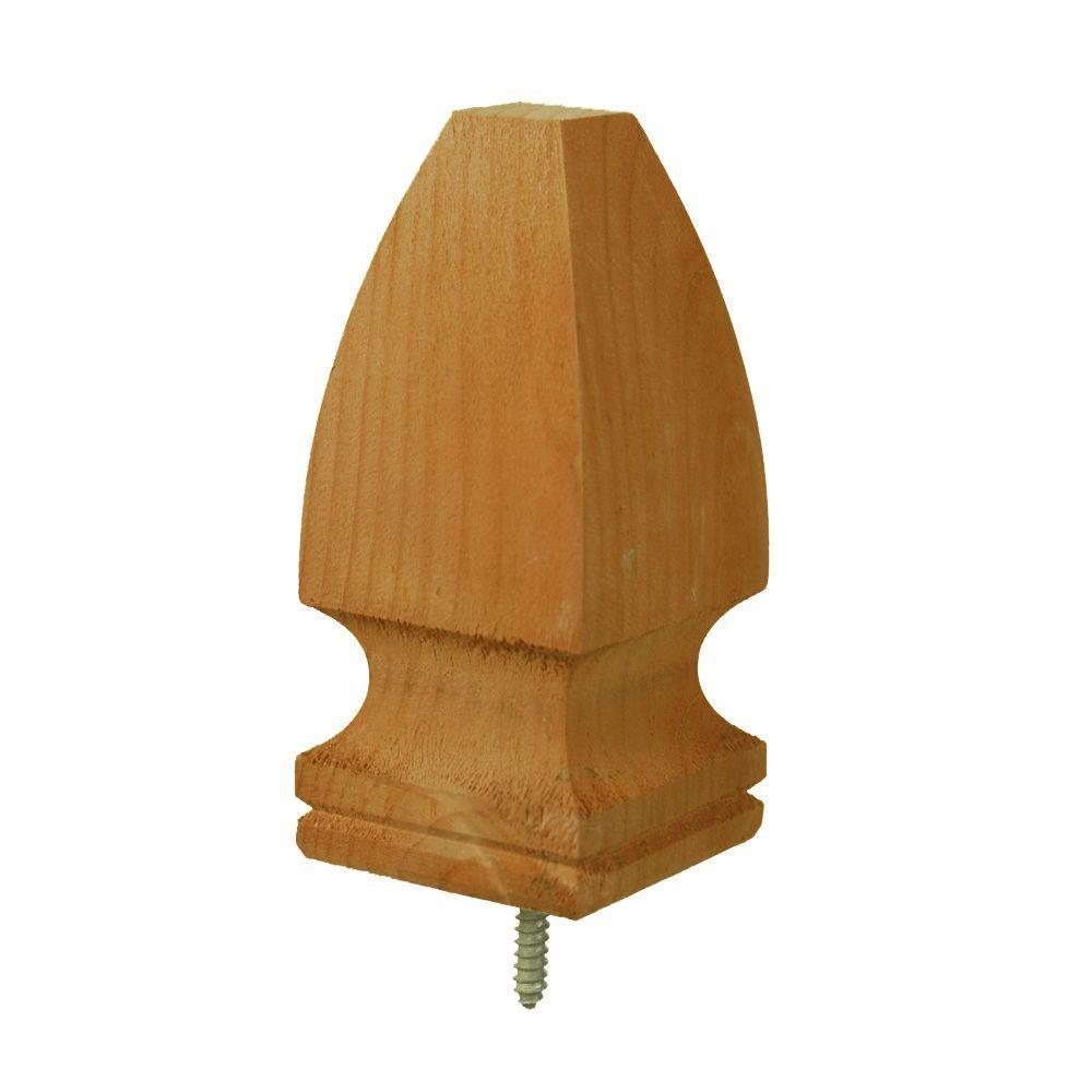 4 in. x 4 in. Pressure-Treated Southern Pine Finial Gothic Cedar-Tone Post Cap