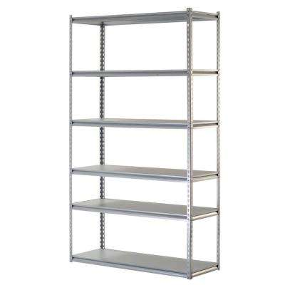 86 in. H x 48 in. W x 18 in. D 6-Shelf Steel Storage Shelving Unit in Silver