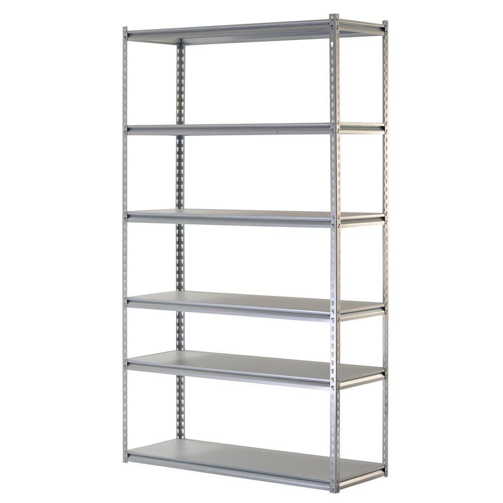 48 in. W x 86 in. H x 18 in. D 6-Shelf Steel Storage Shelving Unit in Silver