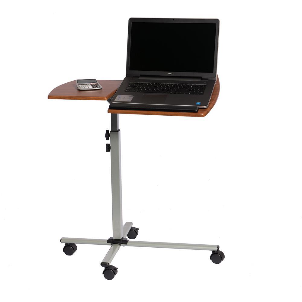 Mahogany Rolling Adjustable Laptop Cart
