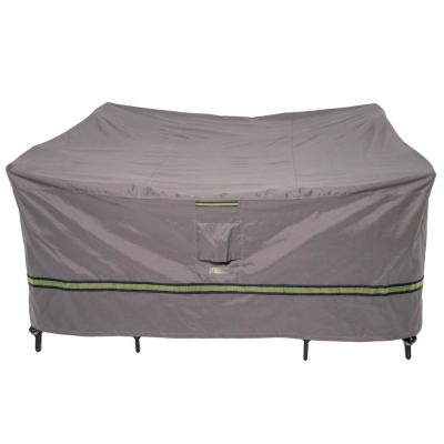 Soteria 76 in. Grey Square Patio Table with Chairs Cover