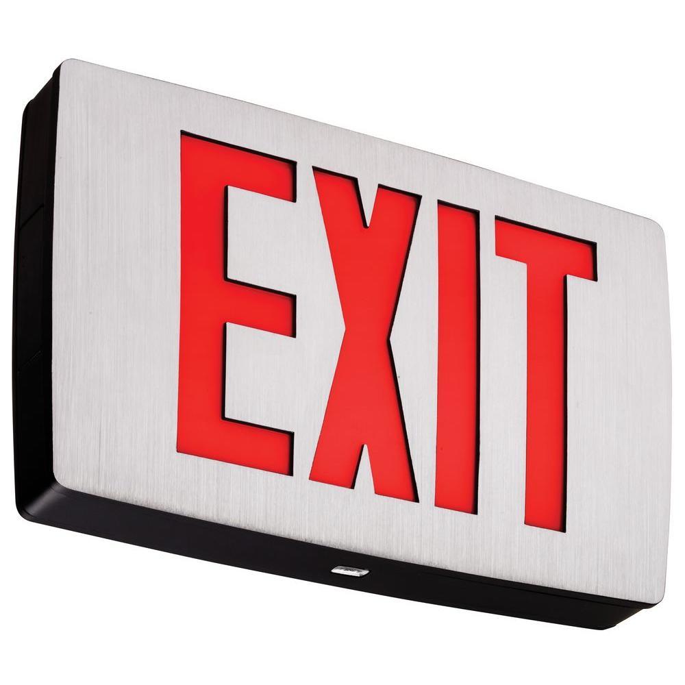 Lithonia Lighting LQC 1 R EL N Polycarbonate Red Letter LED Exit Sign