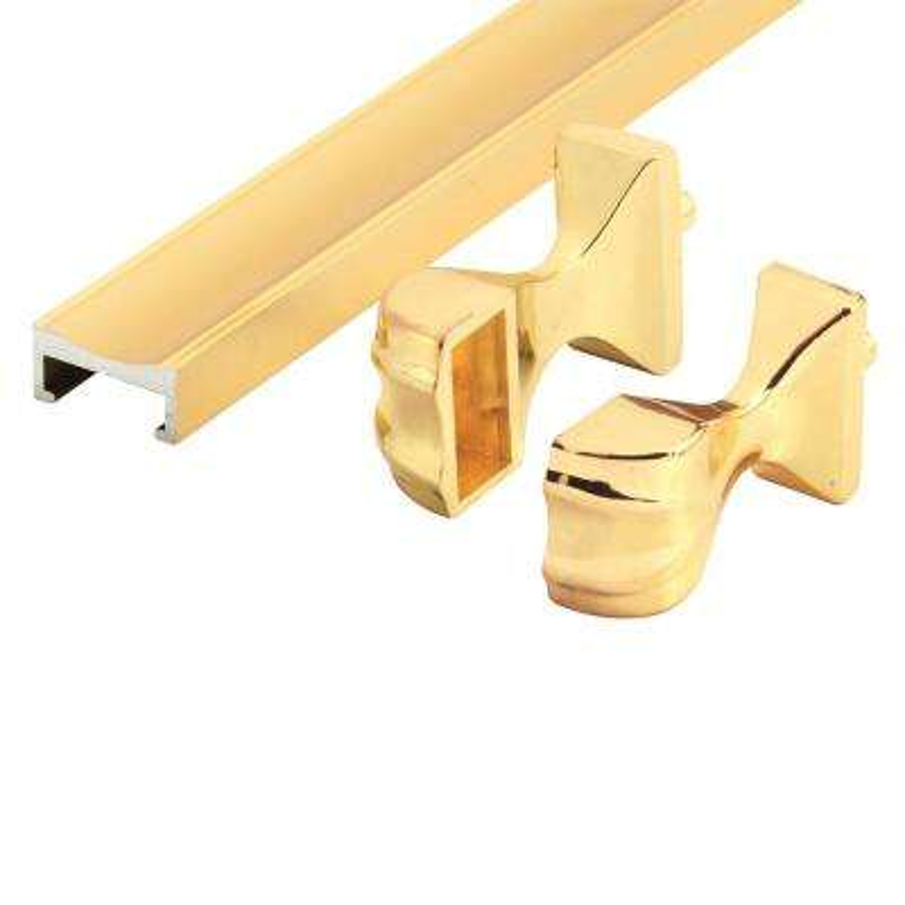Brass Shower Door Towel Bar and Bracket Set