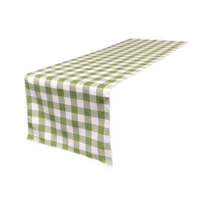 14 in. x 108 in. White and Apple Polyester Gingham Checkered Table Runner