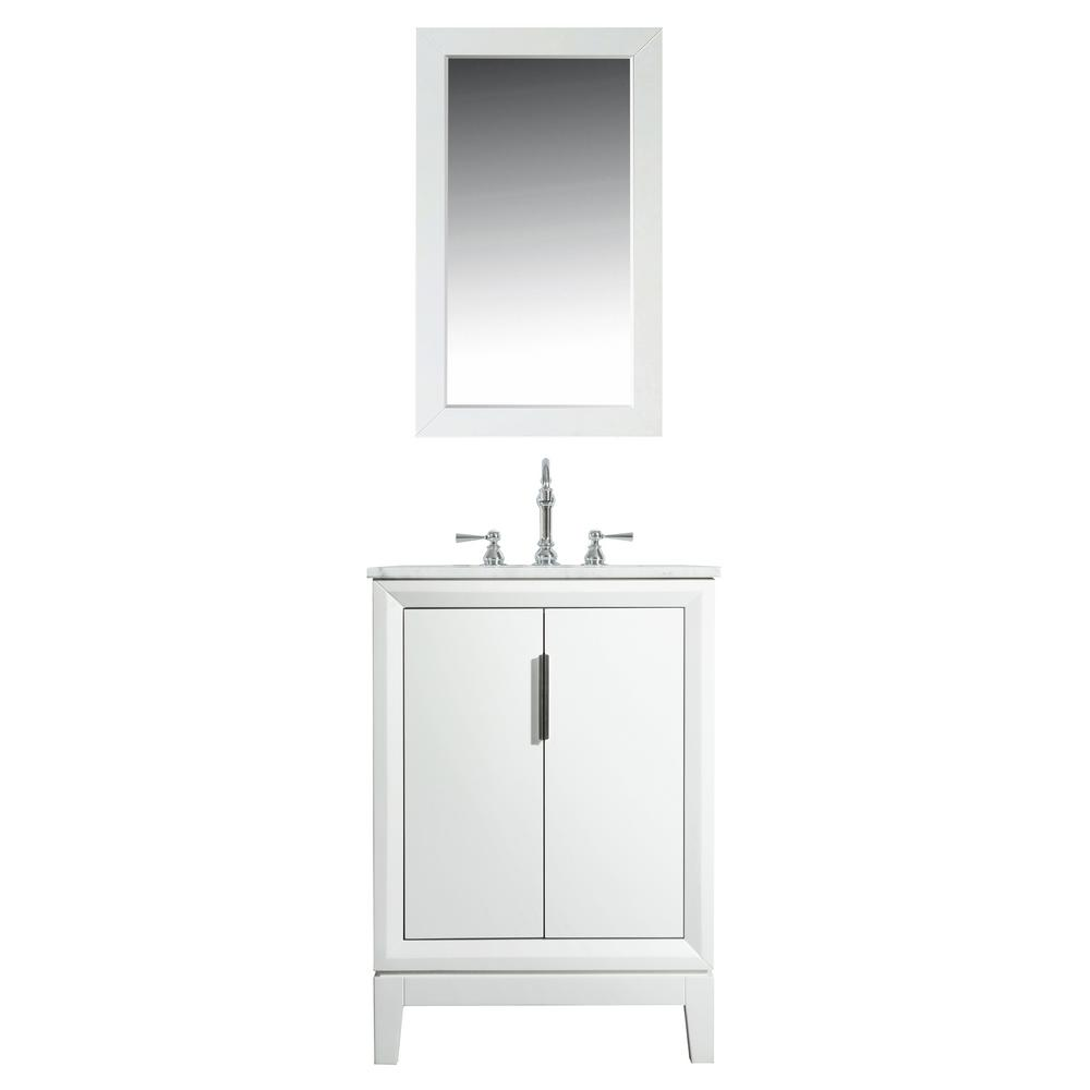 Water Creation 24 in. Bath Vanity in Pure White w/ Carrara White Marble Vanity Top w/ Ceramics White Basins and Mirror and Faucet
