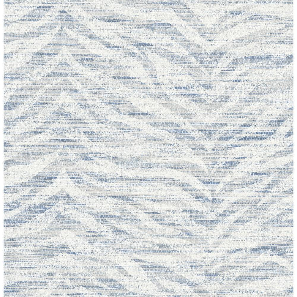 Antibes Blue Chevron Texture Strippable Roll (Covers 56.4 sq. ft.)