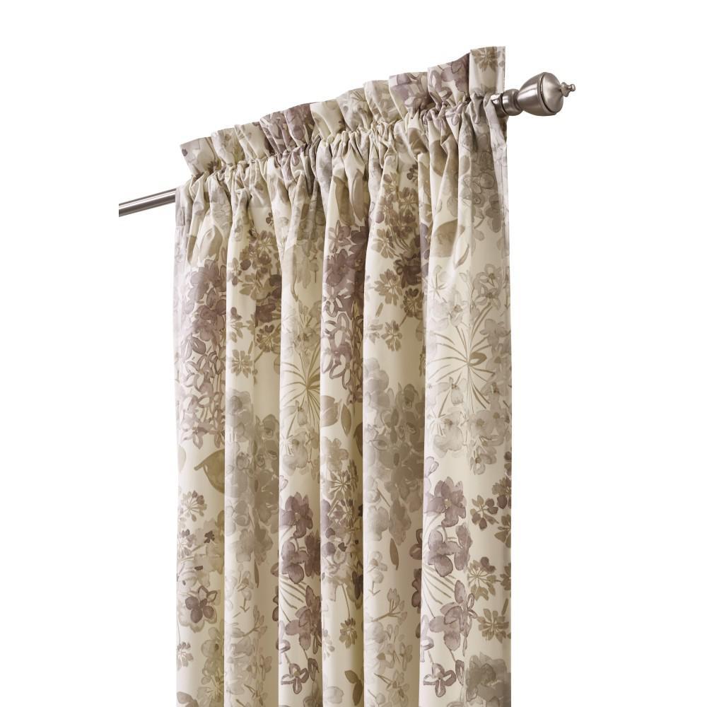 Semi-Opaque Flower Bed 84 in. L Cotton Drapery Panel in Linen