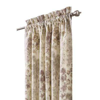 Semi-Opaque Flower Bed 84 in. L Cotton Drapery Panel in Linen