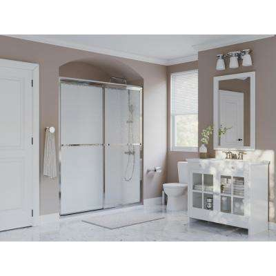 Paragon 54 in. to 55.5 in. x 70 in. Framed Sliding Shower Door with Towel Bar in Chrome and Obscure Glass