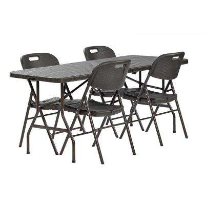 5-Piece Brown Rattan 72 in. x 30 in. Plastic Fold-in-Half Table and 4-Chair Set