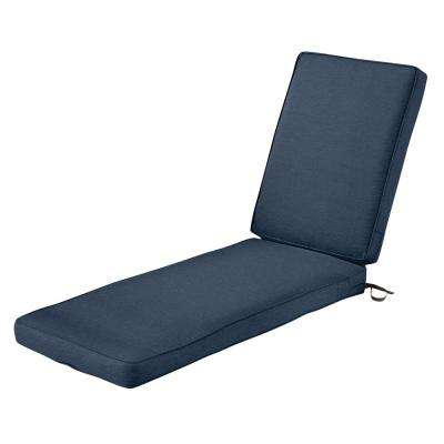 Montlake FadeSafe Heather Indigo Outdoor Chaise Lounge Cushion