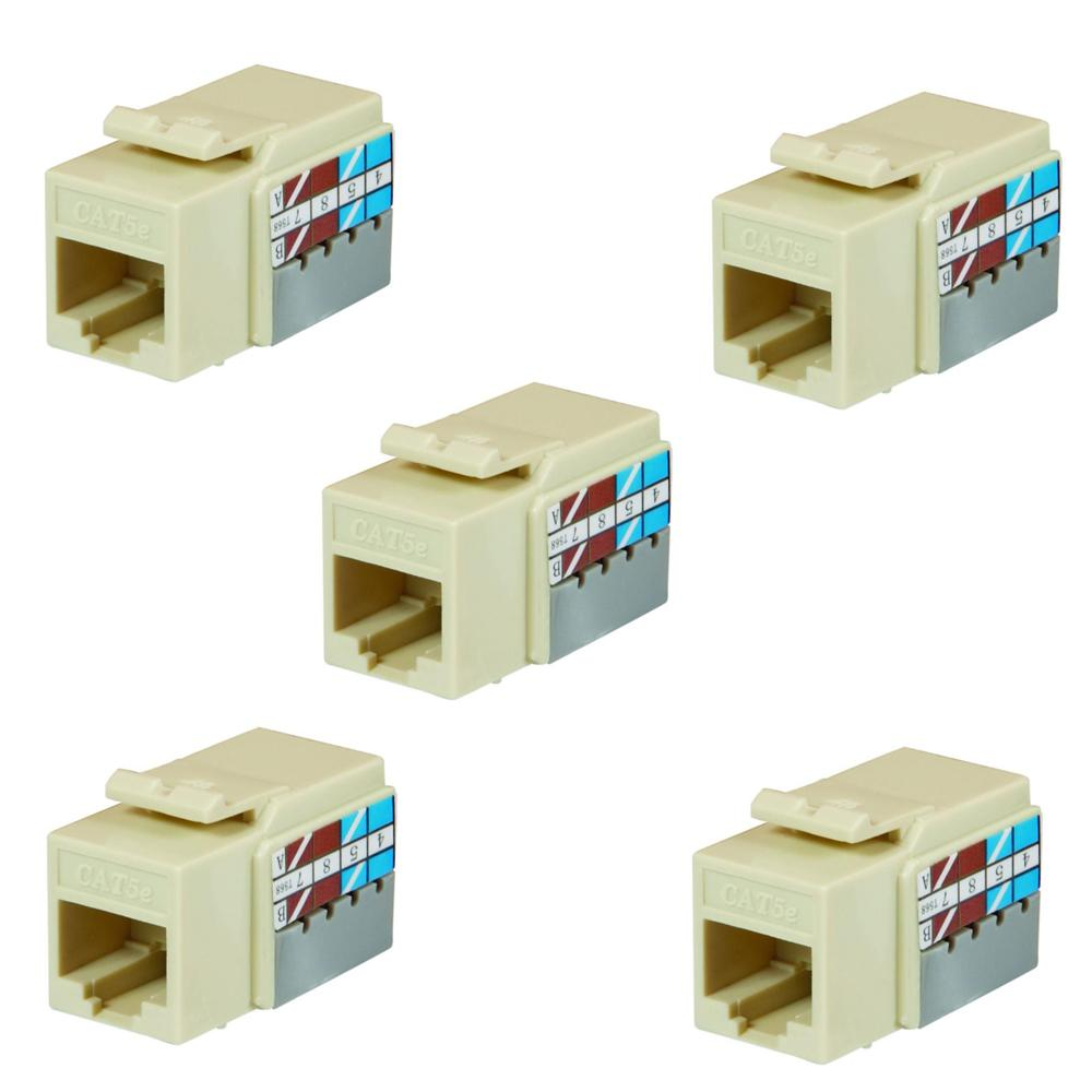 Category 5e Jack in Light Almond (5-Pack)