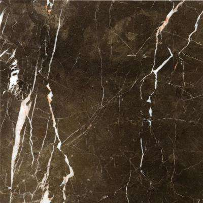Marble St Croix Brown Polished 12.01 in. x 12.01 in. Marble Floor and Wall Tile