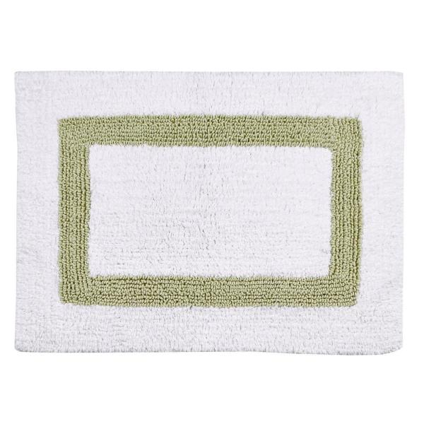 Undefined Hotel Collection White And Sage 21 In X 34 Cotton Bath Rug