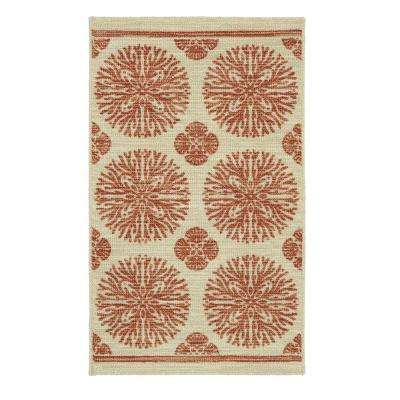 Coral Medallion Rustburn 2 ft. x 3 ft. Indoor/Outdoor Area Rug
