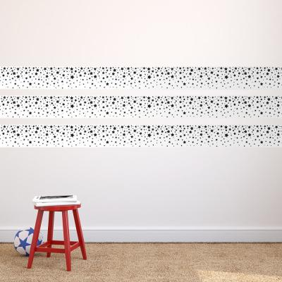 Kids Falling Stars White and Black Self-Adhesive Removable Borders and Stripes