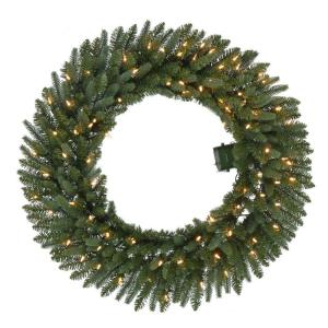 36 inch Pre-Lit B/O LED New Meadow Artificial Christmas Wreath x 341 Tips with 80 Warm White Lights and Timer by