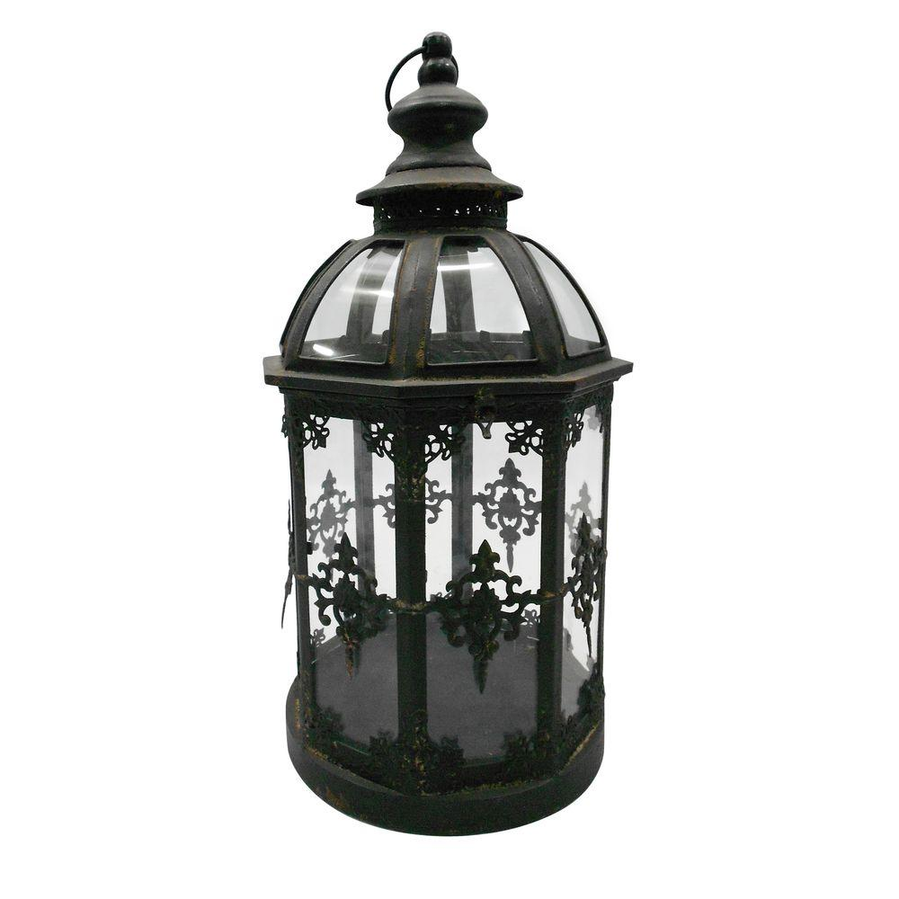 null 10 in. x 19 in. Round Glass Battery-Powered Candle Lantern with Classic Iron Frame