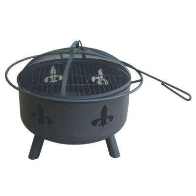 28 in. Round Steel Wood Coal Fire Pit with Fleur De Lis in Black