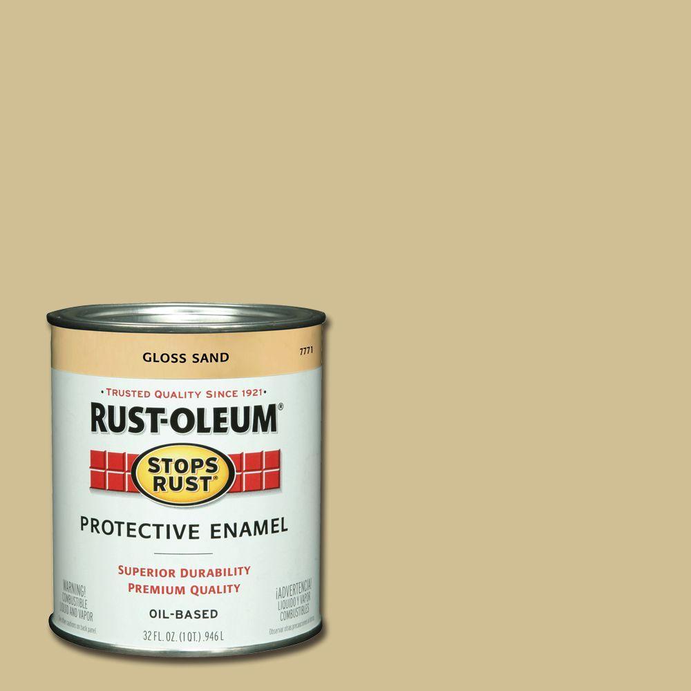 Rust Oleum Stops Rust 1 Qt Protective Enamel Gloss Sand Interior Exterior Paint 2 Pack