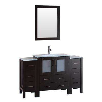 54 in. W Single Bath Vanity with Tempered Glass Vanity Top in White with White Basin and Mirror