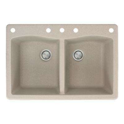 Aversa Drop-In Granite 33 in. 5-Hole Equal Double Bowl Kitchen Sink in Cafe Latte