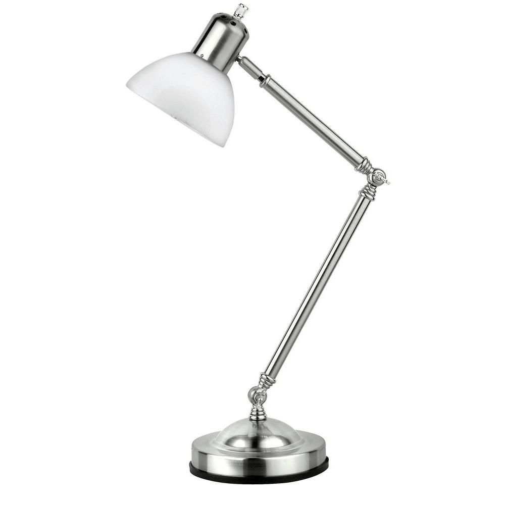Illumine 26.5 in. Polished Steel Desk Lamp with Frost Glass Shade