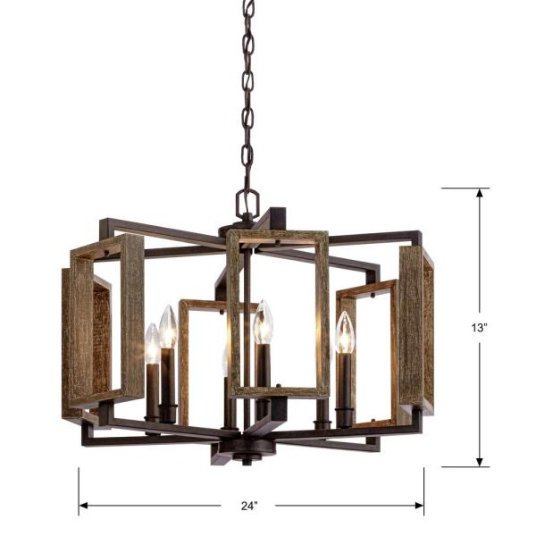 Clear Crystal Chandelier Old World Style Ceiling Lighting Lamp Brown Metal Base