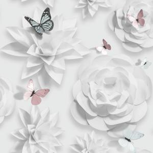 Graham Brown Origami Floral Pink Aqua And White Removable