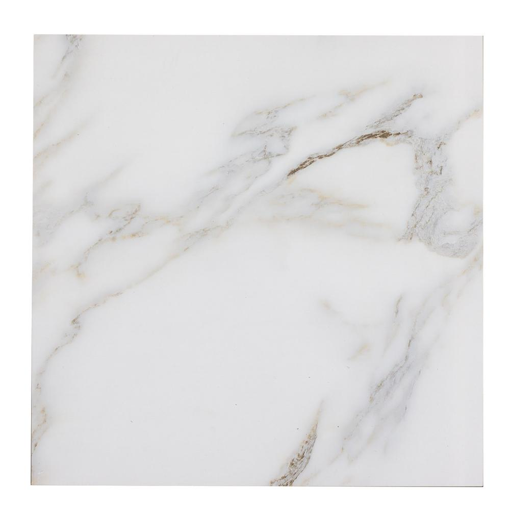 Nature 8 in. x 8 in. Calacatta Gold Glass Peel and
