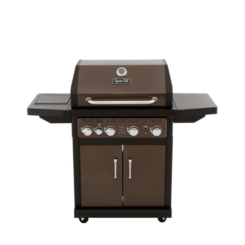 4-Burner Propane Gas Grill in Bronze with Side Burner