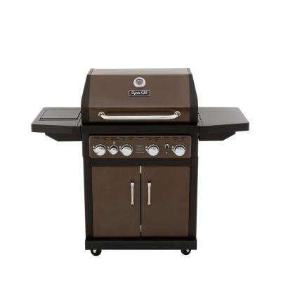 4-Burner Propane Gas Grill in Bronze with Side Burner and Cover